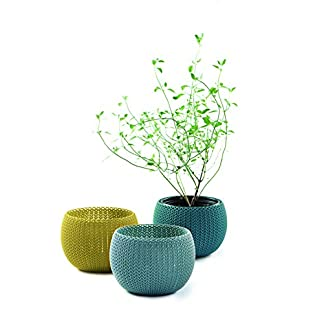 Keter Knit Cozies – Macetas de jardín para Interiores y Exteriores, Juego de 3
