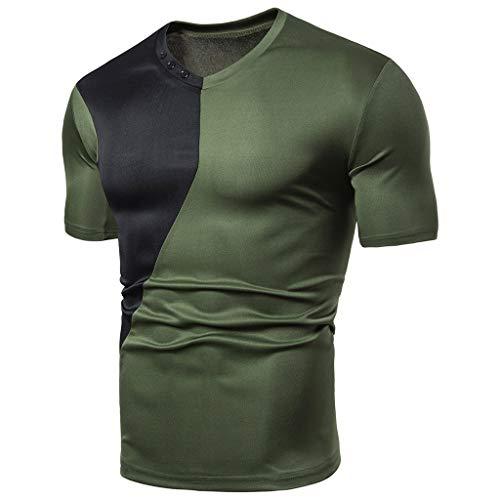 Herren Kurzarm Rundhals T-Shirt Oversize Custom Fit in vielen Farben Vegan Sommer Fit Patchwork Kurzarm T-Shirt Tops Bluse (Grün, XL)