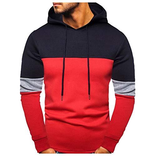 PPWOMEN Herren Bluse Lange Ärmel Herbst Und Winter Tops Beiläufig DREI Farben Nähen Mit Kapuze Sweatshirt Mantel (Rot, XL)