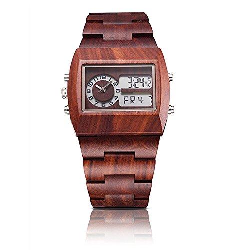 Bewell Vintage Style Digital Holz Armbanduhr umweltfreundlich für Männer mit doppelten Bewegungen und Kalender Display Rechteck Zifferblatt 021 A