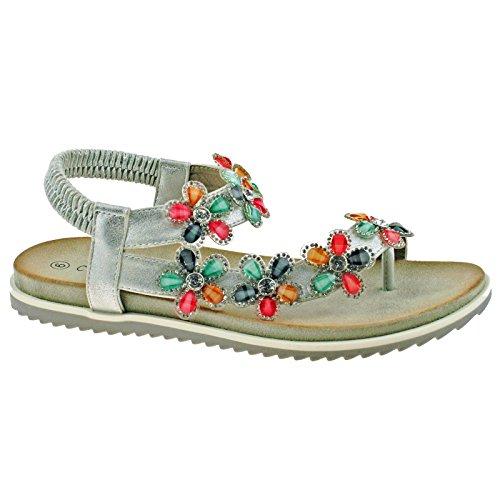 Cipriata Ladies Silver Shimmer Diamante Flower Toe Post Sandals L063FS KD-UK 8 (EU 41) (Kd-8 Schuhe)