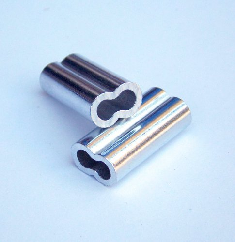 Aluminium Double Barrel Crimp Sleeves 2.0mm x 18mm-100Stück -