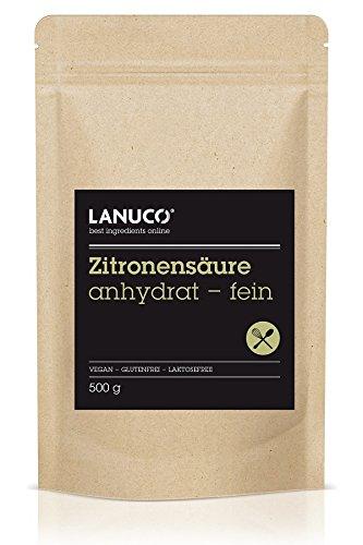 Citronensäure für Lebensmittel anhydrat - fein 1.000 g reines Pulver, E 330 (wasserfrei),...