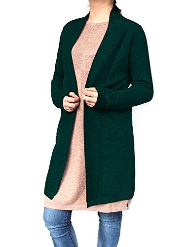 Cappotti cardigan donna, dsuk manica pieno maglieria primavera di moda accogliente vacanza felpa in maglia tops ginocchio ribbing bottom camicia lavorata capispalla con tasca verde
