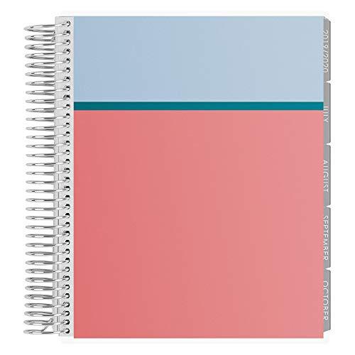 Erin Condren 2019-2020 Spiraliger LifePlanner - Colorblock (Powder Blue, Peacock, Coral), stündlich (Neutral Layout) -