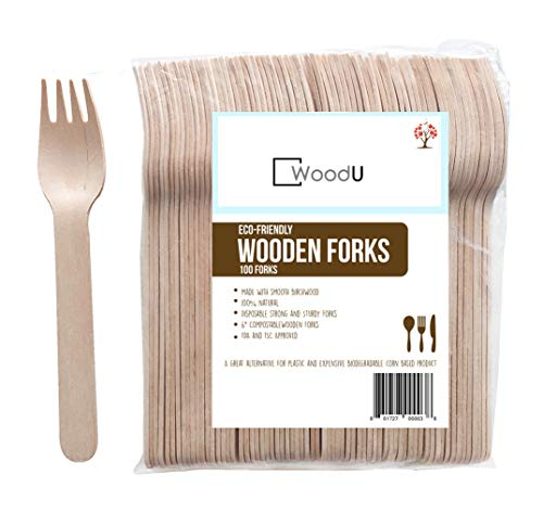 """WoodU Disposable Wooden Forks, 6"""" Utensils Cutlery Eco-Friendly Biodegradable Compostable Natural Birchwood Fork, Party Supplies, Camping BBQ, Picnic, Birthday Parties (Pack of 100) Go Green!"""