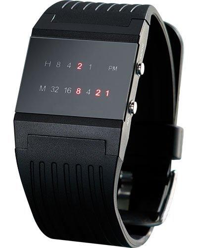 St. Leonhard Reloj binario: binario de reloj de pulsera Future Line con pantalla roja, para hombre (binäre Relojes Hombre)