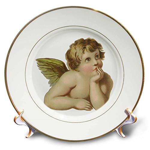 3dRose CP 104695_ 1Vintage Viktorianischer Thinking Angel Cherub Porzellan Teller, 20,3cm