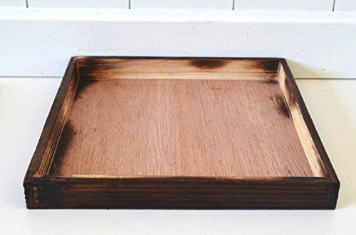 Tablett Kerzen-Tablett Deko-Tablett Kerzen-Teller Platte Holz-Tablett Holz braun Deko Tischdeko Tray Landhaus Shabby 25x25x2,5cm Servier-Tablett Weihnachtsdeko Osterdeko Garten-Deko