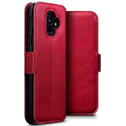 Terrapin, Kompatibel mit Samsung Galaxy A6 2018 Hülle, Premium ECHT Leder - Slim Fit - Flip Handyhülle Samsung Galaxy A6 2018 Tasche Schutzhülle - Rot EINWEG
