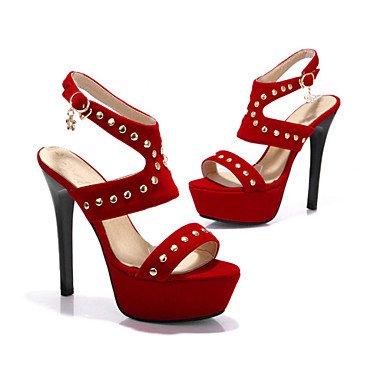 LvYuan Damen-Sandalen-Kleid Lässig Party & Festivität-Samt-Stöckelabsatz-Andere Gladiator-Schwarz Blau Rot Red