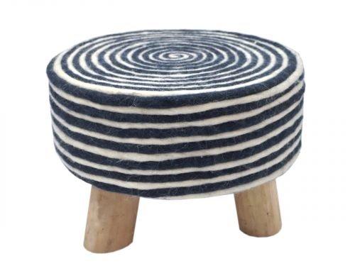 Sitz-Hocker Filz-Optik Pouf Schemel mit Holzfüßen Ø 40 cm Höhe 25 cm