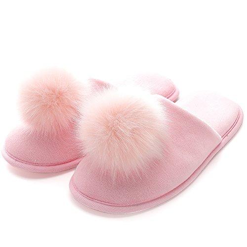 FLY HAWK Hausschuhe Damen Filzpantoffeln aus hochwertigem Samt Drinnen Pantoffeln mit Pompon für Herbst und Winter_S_Pink