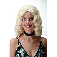 WIG ME UP ® - GF-W1860-613 Peluca mujer calidad Hollywood classico elegante diva ondulado voluminoso rubio platino 50 cm