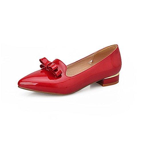 AllhqFashion Damen Niedriger Absatz Rein Ziehen Auf Lackleder Spitz Zehe Pumps Schuhe Rot