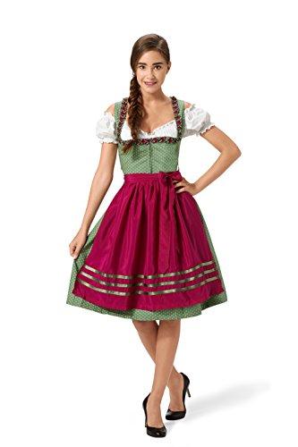Steindl Trachten München-Salzburg Dirndl 3tlg. - 100% Baumwolle, grün