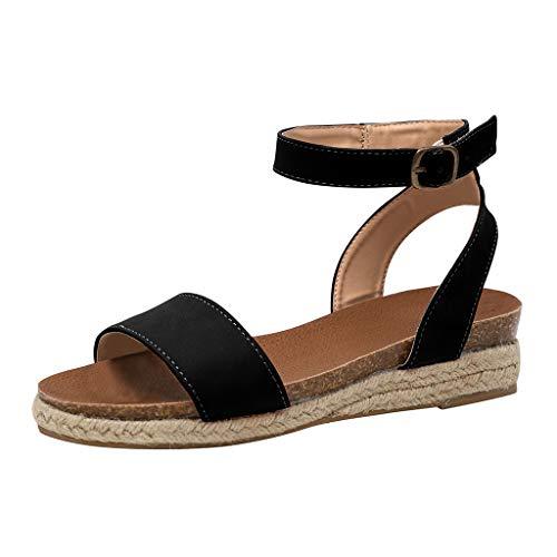 Zapatos Mujer Verano,BBestseller Moda Punta Abierta Hebilla de Roma Sandalias Mujer Verano 2019 Planas Chanclas para Playa Calzado