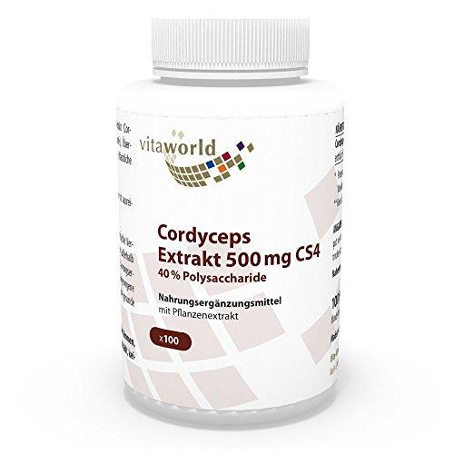 Vita World Premium Cordyceps Extrakt 500mg CS4 - 40% Polysaccharide 100 Kapseln Apotheken Herstellung Raupenpilz Cordyceps CS4 Extrakt