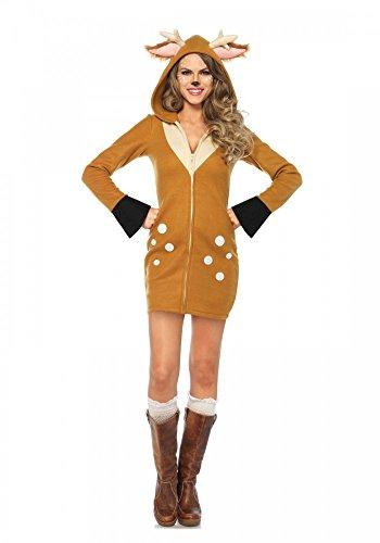 Cozy Fawn Damen-Kostüm von Leg Avenue - Rehkitz Kitz Bambi Hirsch Rentier, Größe: (Für Erwachsene Rentier Kostüm Hoodie)