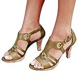 Dorical Zapatos de Baile Latino para Mujer Zapatos de Tango Salsa Samba Vals Baile de Salón Zapatos de Baile Latino de Tacón Alto/Medio para Mujer Sandalias de tira de hebilla de metal