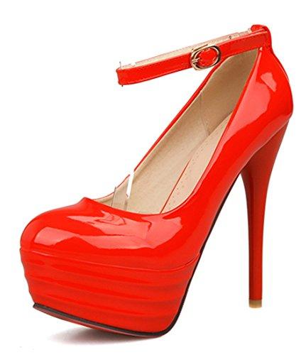 YE Damen Geschlossen Runden Zehe Riemchen High Heels Plateau Stiletto Rote Sohle Leder Knoechelriemchen Pumps Schuhe (40EU, Rot)