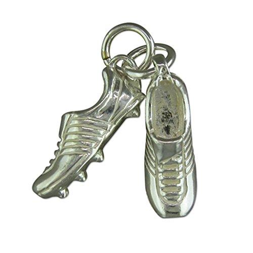 Da uomo, in argento Sterling Calcio Ciondolo su collana di corda in pelle nero, Argento, colore: nero/argento, cod. 768-M18