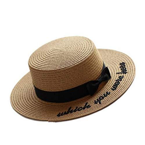 Fxhang Sonnenhut Stickerei Brief Bootsfahrer Hut Sommer Band Runde Bogen Flat Top breiter Krempe Strohhut Frauen Panama Hut,a1