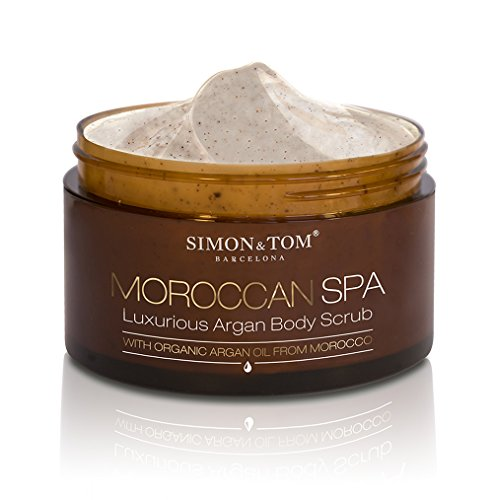 Simon & Tom Moroccan Spa Lujoso Exfoliante corporal - Con aceite de Argán orgánico y partículas de cascaras de Argán. ✔No testado en animales ✔Libre de Parabenos & Ftalatos ✔Vegano ✔Hecho en España