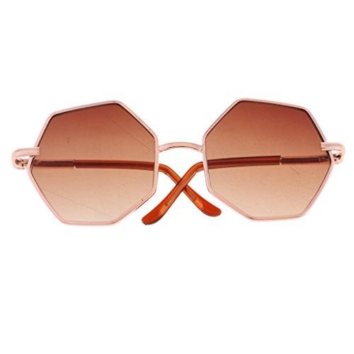 MagiDeal Modische Sechseckige Puppenbrille Gläser Sonnenbrille Für 20-25cm Bjd Puppen - Braun
