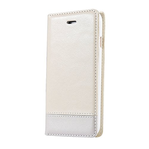 JIALUN-Telefon Fall Luxus Mixed Stitching Style Double Side Magnetische Verschluss Ultra Slim Premium Leder Tasche mit Kickstand und Card Slots für iPhone 6 Plus / 6s Plus ( Color : Brown ) White