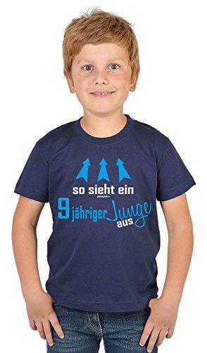 Kinder T-Shirt - Kindergeburtstag Geschenk 9 Jahre alt Kindershirt so sieht ein 9 jähriger Junge aus 9 Geburtstagsgeschenk cooler Spruch bedruckt Buben Kind in blau L : ) (Top-geschenke Für 11-jährigen Jungen)