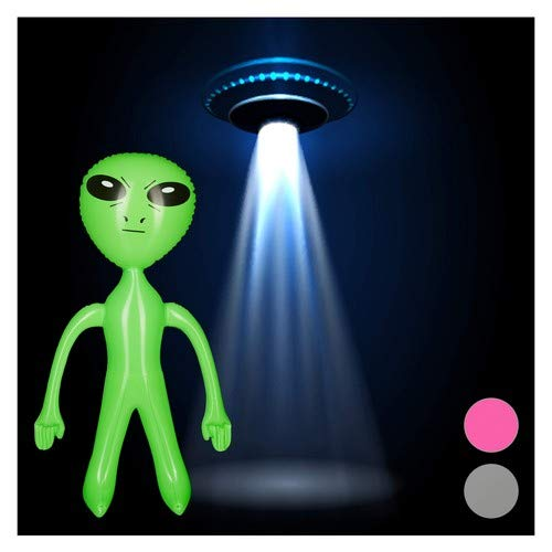 Relaxdays aufblasbares Alien, Marsmännchen Figur, Sci-Fi Party Deko, Karneval, Wasserspielzeug, Aufblasalien groß, grün, BPA-freies PVC, H x B x T: ca. 61 x 35 x 14 - Mulder Kostüm