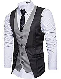 Leisure Hombre chaleco de traje blazers waistcoat sin manga 2in1 formal Boda  Ceremonia e2bd187a4124