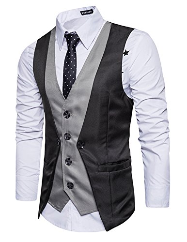 Leisure Herren Anzugweste Gentleman Basic Mode Einreiher vier Knöpfe 2 in 1 Weste,Schwarz,XL
