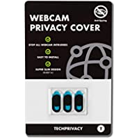 TechPrivacy Webcam Privacy Cover Webcam Covers suitable for iPads, Laptops, Macbook, Macbook Pro, Tablets and more, Protect your Privacy Online, Ultra Slim and Logo-less Design, 3 pack