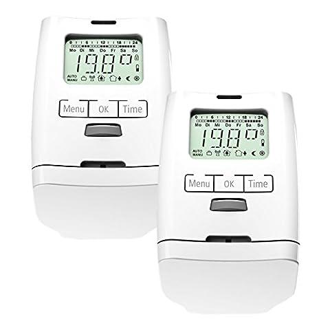 2 Stück Premium Elektronischer Heizkörperthermostat Thermostat Thermostatventil HT 2000 Made in Germany