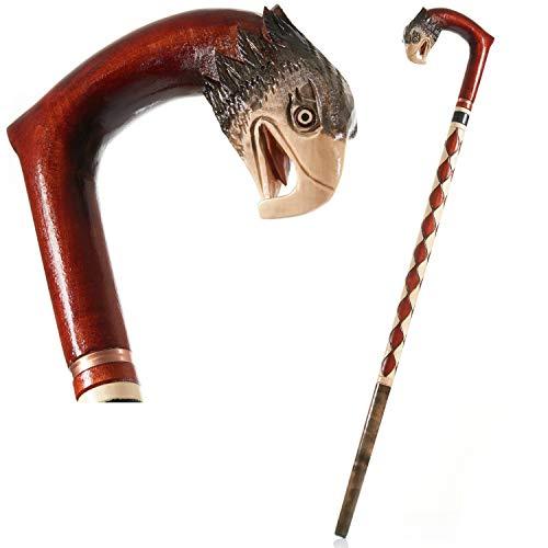 Handgeschnitzter Spazierstock mit gebogenem Griff, einzigartiges Design–Qualität aus der EU, holz, Adler, 90 cm
