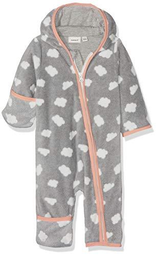 NAME IT Baby-Mädchen Schneeanzug NBFMABEL Fleece Suit, Mehrfarbig (Grey Melange), 62/68 (Herstellergröße: 62-68)