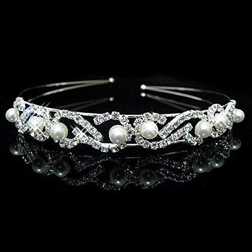 LFDHG Hochzeit Tiaras und Kronen Brautpartei Heimkehr Kristall Tiara Stirnband Prince Crown Nachahmung weiße Perle Haarschmuck 11 -