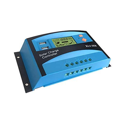 Noradtjcca 12V 24V 30A Solarregler LCD-Funktion Doppelusb-5VDC Ausgang Solarzellen Panels Batterieladeregler
