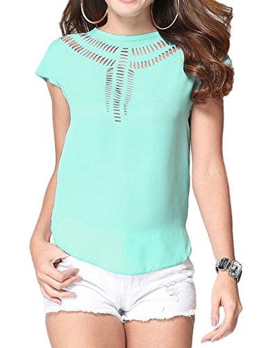 Smile YKK Femme Veste Courte Tops T-shirt Chiffon Uni Vert