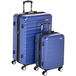 AmazonBasics – Maleta rígida «Hardside» de alta calidad, con ruedas giratorias y cerradura TSA incorporada – Juego de 2 unidades (55 cm, 78 cm), Azul