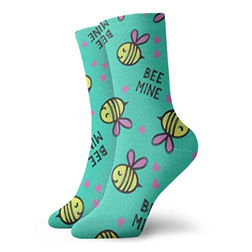 Kotdeqay Socks Funny Colorful,Bee Mine - Teal - Valentines Day_1370,100% Cotton Non Slip for Men Women 15.7inch one Size.