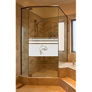 GD651 Bad Dusche Sichtschutz Aufkleber Höhe ca. 50 cm, Glasdekorfolie Duschwand Glasdekor Fensterfolie Badezimmer