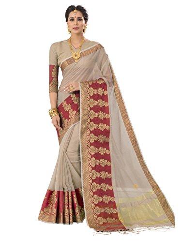 Pisara Women's Banarasi Cotton Silk Saree With Blouse Piece,Grey