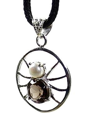 budawi® - Anhänger facettierter Rauchquarz & Perle in Silber 925 Sterling Silber, Anhänger Spinne Silber