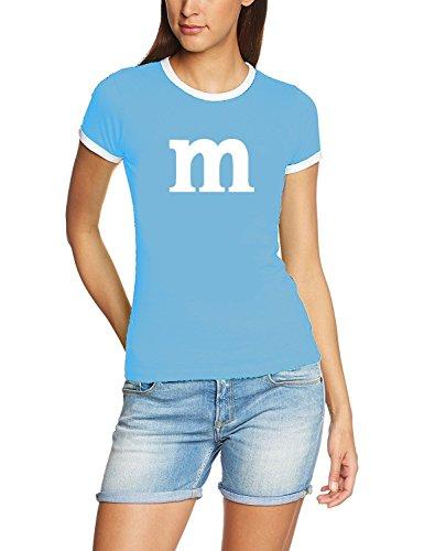 Damen Ringer mit M Aufdruck ! Girly T-Shirt sky (Kostüme Smarties)