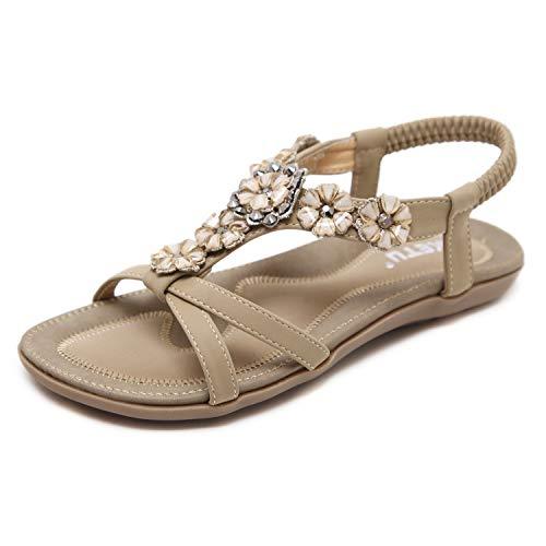 Womens T-Strap Sandali Flat Bohemia Style Roman Clip Toe Flip Flop Casual Scarpe estive Taglia EU 44 Albicocca