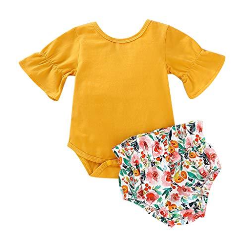 OVINEE 2 STÜCKE Neugeborenen Kleinkind Babyspielanzug Infant Girls Print Overall Kleidung Outfit Anzug Flare Blumendruck Shorts Set