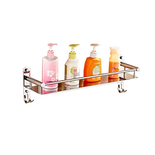 WUDAXIAN Hohe Qualität 304 Edelstahl Badezimmer Hängenden Rack 1-Tier Bad Regal für Bad Glas Duschraum mit 2 Haken Handtuchhalter Handtuchhalter Handtuchhalter (größe : 41cm) -